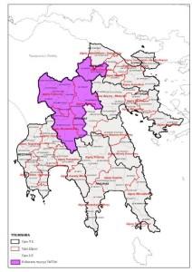 Ενδεικτικά η διευρυμένη περιοχή δράσης του ΤΑΠΤοΚ Αλφειός-Μαιναλο 2020